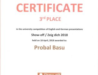Probal Basu from CPS was successful in the competition Show-off 2018