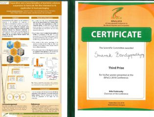 Smarak Bandyopadhyay won the third place in the poster section at a conference in Hungary
